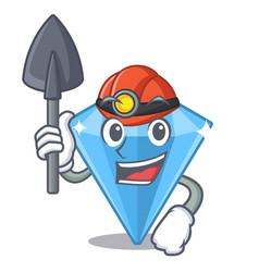 Miner sapphire gem in a mascot box vector