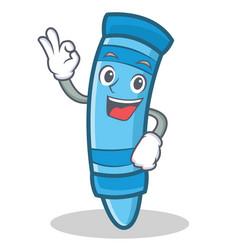 Okay crayon character cartoon style vector