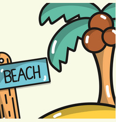 Palm and surfboard to summer vacation in the beach vector