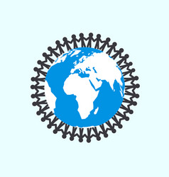 people holding hands around globe - unity symbol vector image