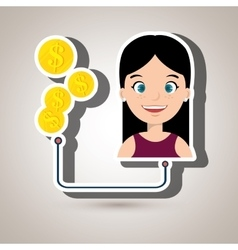people with woman and currency isolated icon vector image