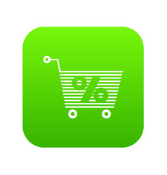 percent trolley icon green vector image
