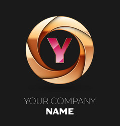 pink letter y logo symbol in golden circle shape vector image