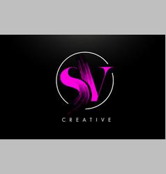 Pink sv brush stroke letter logo design vector