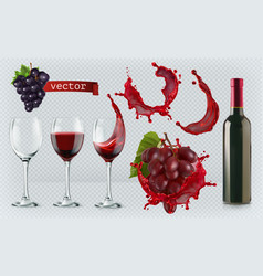 red wine glasses bottle splash grapes 3d vector image