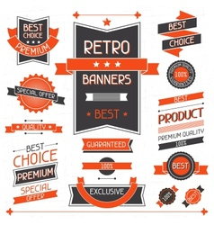 Retro banners Set of labels and stickers vector
