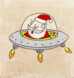 Santa claus in a spaceship cartoon vector
