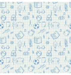 Seamless school pattern doodles on math paper vector