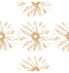seamless vintage pattern with cute flower vector image