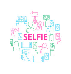 selfie photo signs thin line round design template vector image