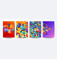 set abstract colorful flying block particle vector image