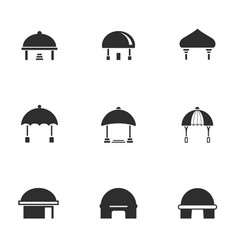 set black and white dome house icon with tent vector image