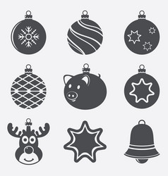 set christmas balls icons vector image