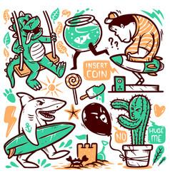 set cute doodle vector image