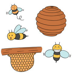 Set of bee and honeycomb vector