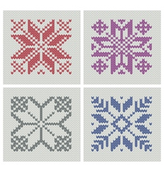 set of norwegian traditional knitting designs vector image