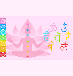 set with chakras girl sitting in lotus vector image