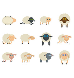 Sheep cute lamb farm iicons set isolated vector