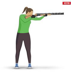 Shooter with shotgun vector