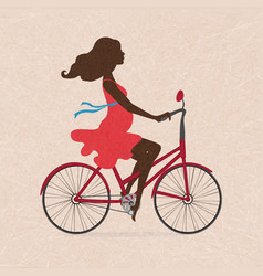 Silhouette of pregnant woman on red bike on vector