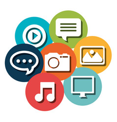 social network set icons vector image