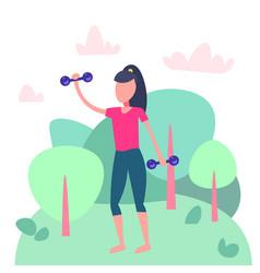 Sportswoman doing physical jerks landscape vector