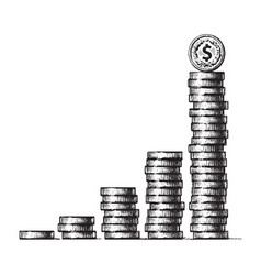 stacks coins with dollar sign coin on top vector image