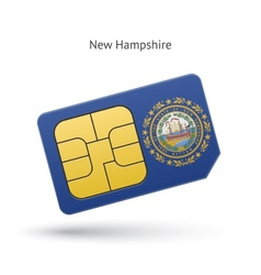 State of New Hampshire phone sim card with flag vector