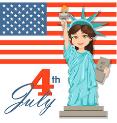 statue of liberty july 4th independence day cute vector image