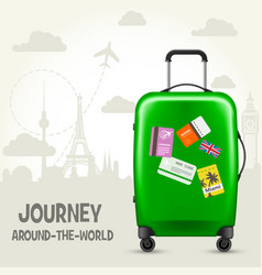Suitcase with travel tags and european landmarks vector