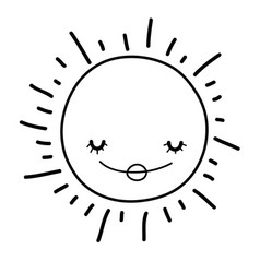 sun smiling cartoon in black and white vector image
