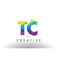 Tc t c colorful letter origami triangles design vector