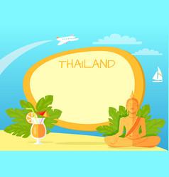 Thailand isle with buddha statue and cocktail vector