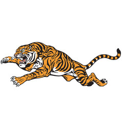 tiger jump tattoo vector image