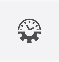 Time setting gear watch icon vector