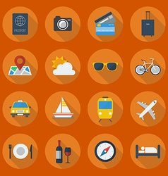 Travel Flat Icon Set vector image