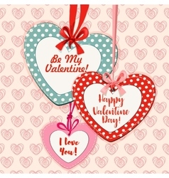 Valentine Day heart shaped greeting card design vector