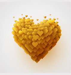 valentines yellow heart love concept vector image