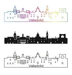 Valladolid skyline linear style with rainbow in vector image