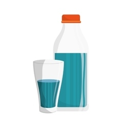 Water bottle and glass vector