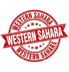 Western Sahara red round grunge vintage ribbon vector