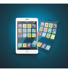 White Smartphone with Application Icons vector