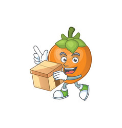 With box persimmon cartoon character isolated with vector