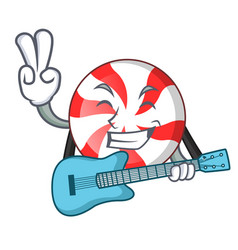 with guitar peppermint candy mascot cartoon vector image