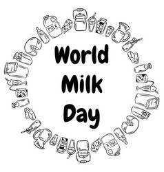 World milk day black doodles circle ornament june vector