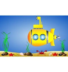 yellow submarine under water vector image
