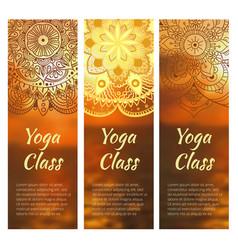 Yoga banner set with mandala vector