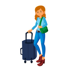 young women tourists with travel bag vector image