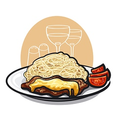 beef steak and pasta vector image vector image
