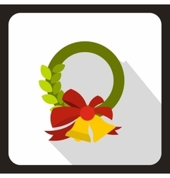 Christmas wreath with bell icon flat style vector image